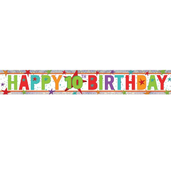 Holographic Happy 10th Birthday Foil Banner